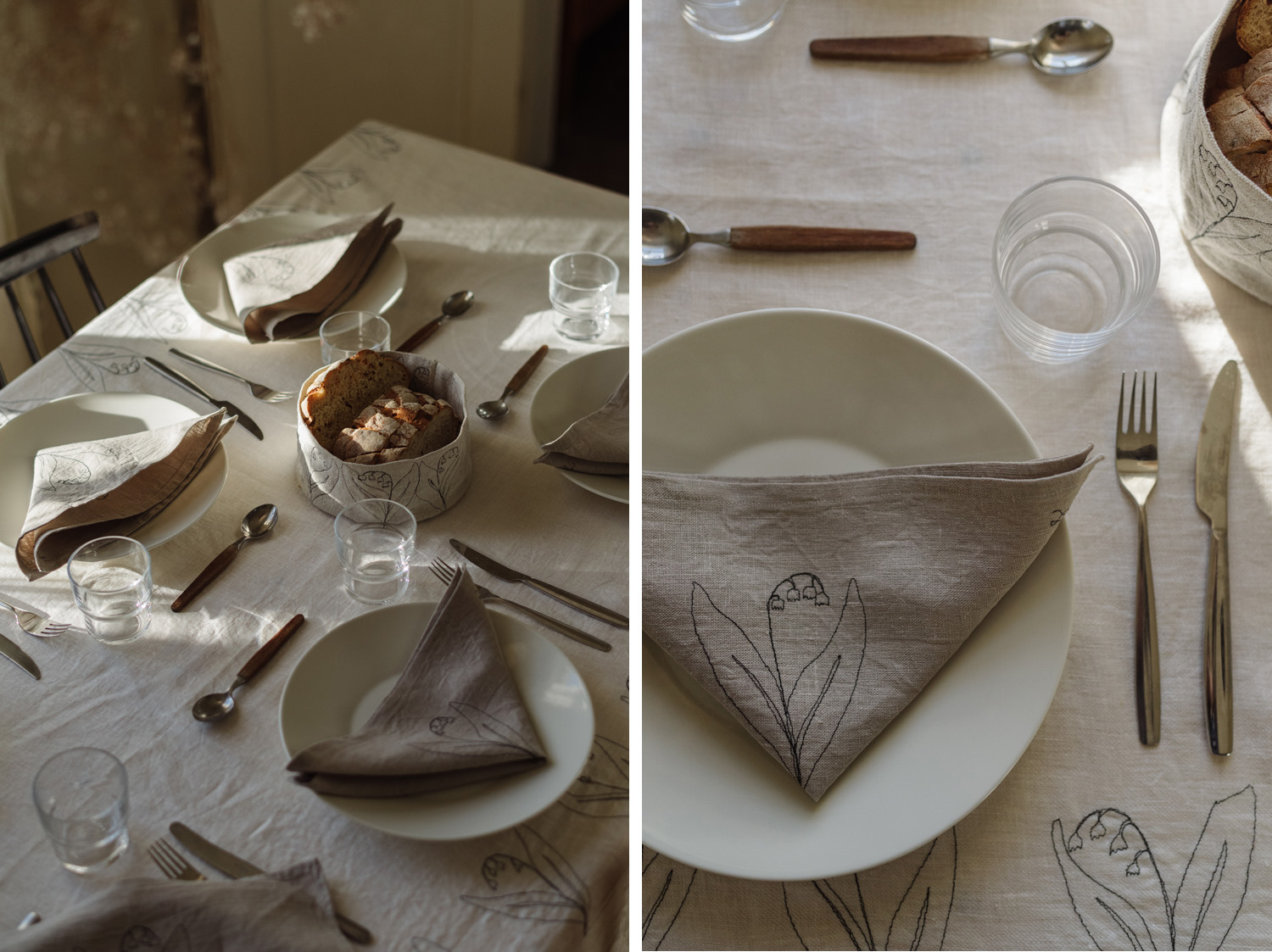 sustainable table setting inspiration textile art